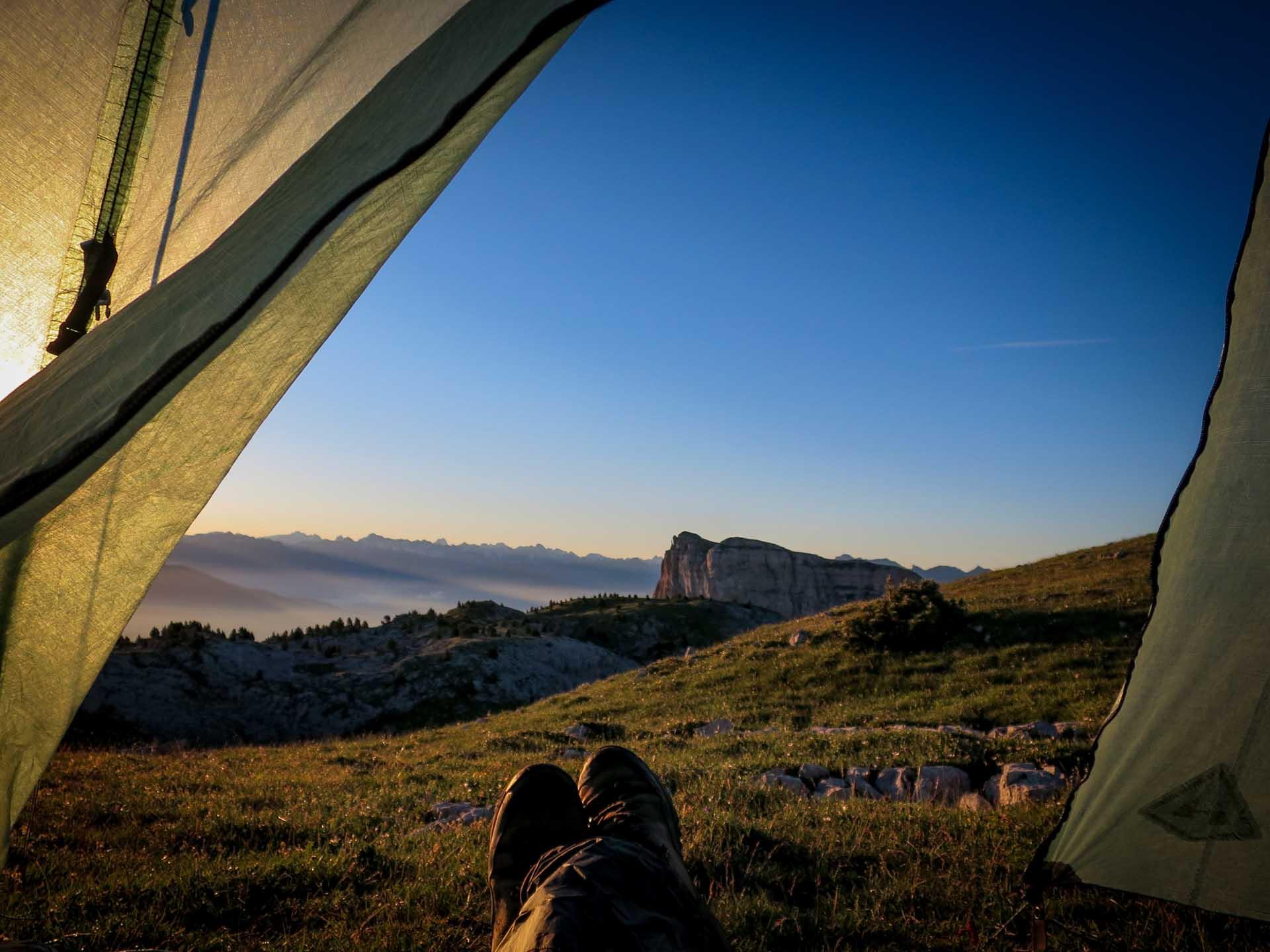Tipi Lever Soleil Bivouac Grand Veymont Hauts Plateaux Vercors Itinerance Sejour Trek Tente Slow Rando